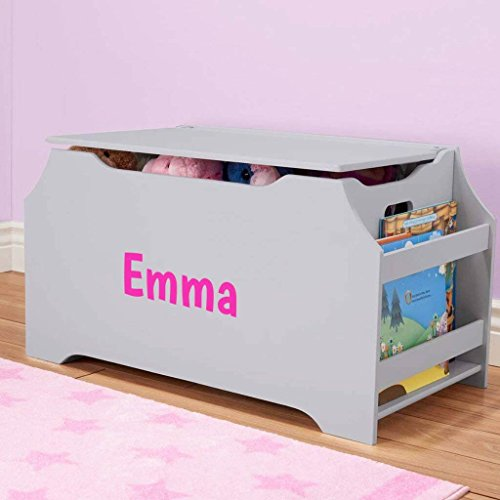 (DIBSIES Personalization Station Personalized Dibsies Kids Toy Box with Book Storage - Girls (Gray))