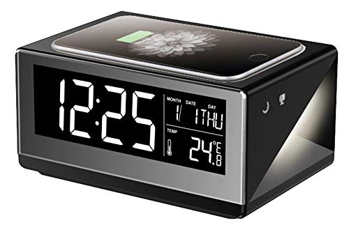 (Boytone BT-12B Fast Wireless Charging Digital Alarm Clock with Temperature & Calendar Display, Bed Light Touch Dimmer, Snooze, 5 inch Full Screen LED for Bedroom, Office, Hotel, Desk, 110/220 Volt)