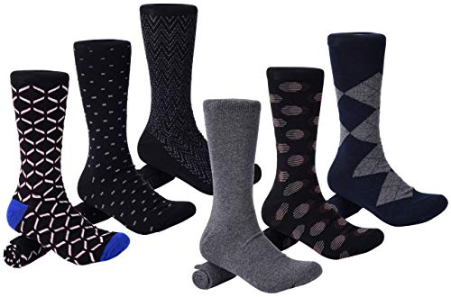 Mio Marino Mens Dress Socks - Argyle Cotton Crew Socks for men - Business casual dress socks - Style 9-6 Pack - Size 13-15