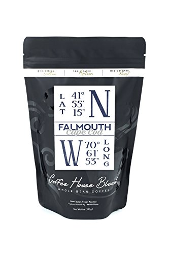 Falmouth, Cape Cod, Massachusetts - Latitude and Longitude (Blue) (8oz Whole Bean Small Batch Artisan Coffee - Bold & Strong Medium Dark Roast w/ Artwork)