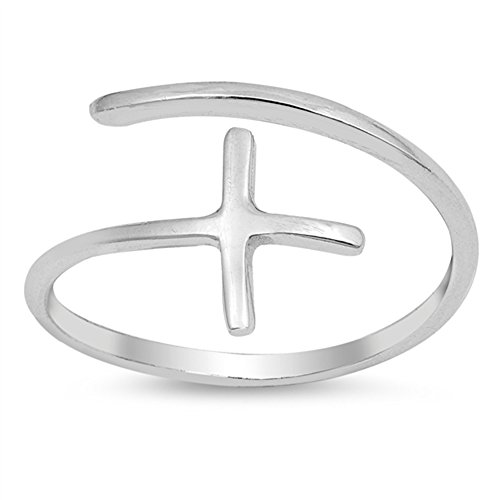 Open Sideways Cross Adjustable Christian Ring Sterling Silver Band Size -