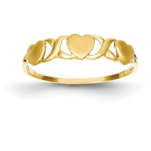 14k Yellow Gold Triple Heart Ring (5mm Width) - Size 8 - Gold Triple Heart Ring