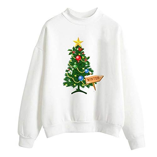 TOTOD Xmas Sweatershirt, Pullover Women Merry Christmas T-Shirt Jumper Print Tops O-Collar Blouse Shirts