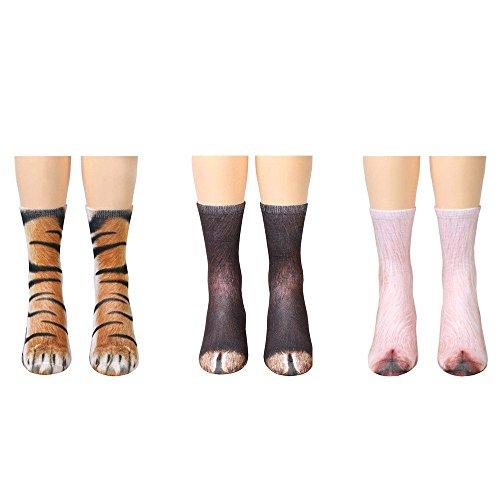 Yanekop 3 Pairs Unisex Adult Child Sublimated Print Animal Foot Hoof Paw Crew Socks(tiger+donkey+pig,Adult) -