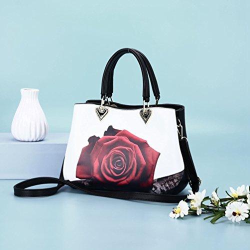 Grande YouPuer Cabas Femmes Faux Cuir Bandoulière en Sac Imprimé Rose Épaule Capacité à Main Sacs Sac à PPSqrwZn