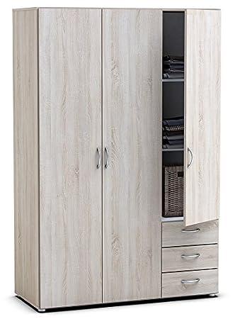 Kleiderschrank B 121 cm sonoma eiche grau 3 Türen Schrank ...
