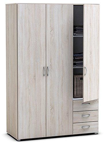 Kleiderschrank B 121 cm sonoma eiche grau 3 Türen Schrank Drehtürenschrank Wäscheschrank Holzschrank Kinderzimmer Jugendzimmer Schlafzimmer