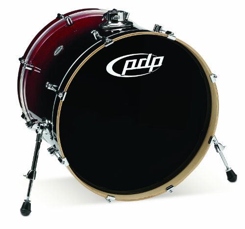 Fade Hardware Red Chrome - Pacific Drums PDCM1822KKRB 18 x 22 Inches Bass Drum with Chrome Hardware - Red to Black Fade