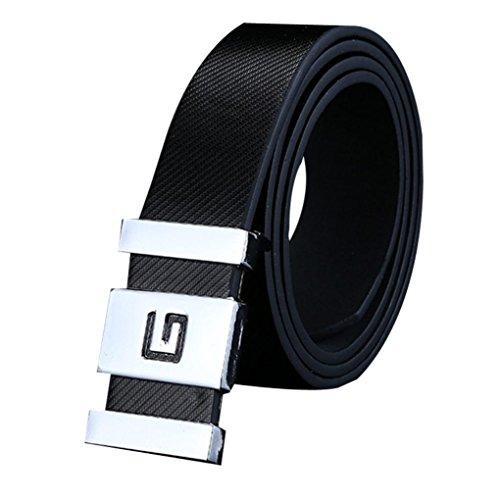 Mens belt! Charberry Men Women Smooth Buckle Leather Belt Waist Strap Belts Buckle Belt (Black) from Charberry