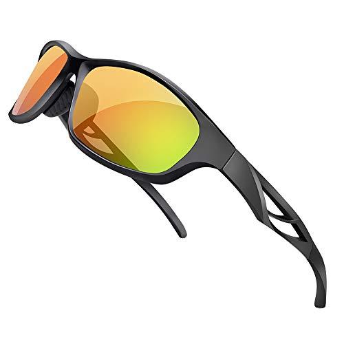 Uv400 Eyewear - SPOSUNE Unisex Polarized Sports Sunglasses Lightweight TR90 Full Frame Outdoor Cycling Glasses, UV400 Protection Anti Glare Mirrored Coating Eyewear for Women Running Baseball Golf Fishing Red