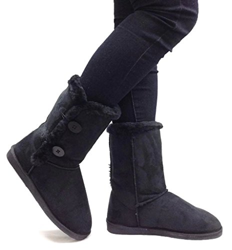 Womens TRISH Soft Fur Lined Comfort Eskimo Boot with 2-Button Mid Calf Faux Suede Girls, Black, 6 (Eskimo Outfit)