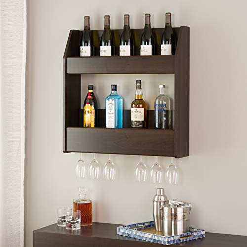 Prepac 2-Tier Floating Wine and Liquor Rack, (Brown Liquor Cabinets)