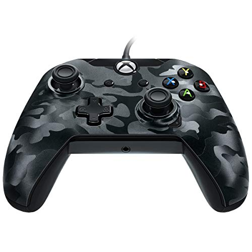 PDP Stealth Series Wired Controller for Xbox One, Xbox One X and Xbox One S, Phantom Black (Wired Xbox 360 Controller White)