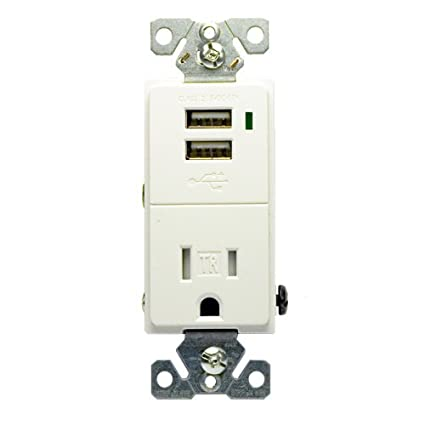 Cooper TR7740W-BOX Electrical Outlet, Combination USB Charger/Tamper ...