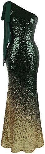 - Angel-fashions Women's Asymmetric Ribbon Gradient Sequin Mermaid Long Prom Dress (XXL, Green Gold)