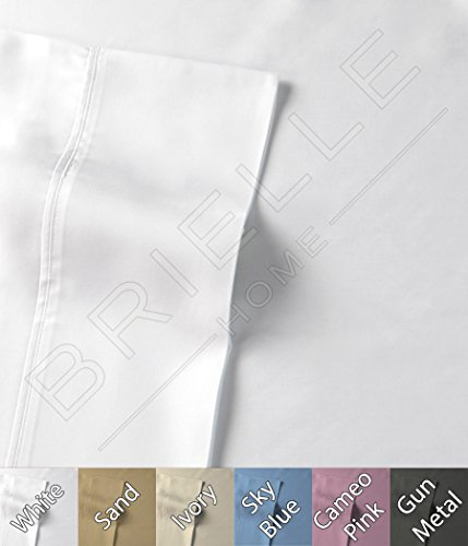 Brielle 510 Count 100-Percent Rayon Bamboo Sateen Premium Sheet Set, California King, White