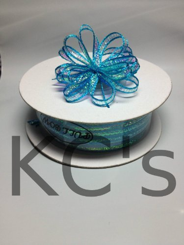"1/8"" 50 Yards Turquoise Organza Iridescent Center with String Pull Ribbon Bow"