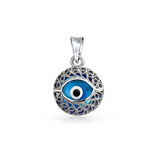 Sterling Silver Round Blue Glass Evil Eye Filigree Pendant