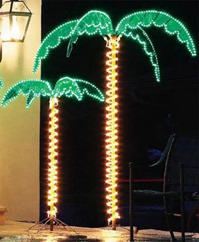 (4.5' Rope Light Palm Tree Tropical Yard and Patio Decor with Holographic Trunk and Fronds)