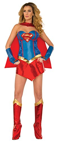 DC Comics Deluxe Supergirl Costume With Boot Covers, Multi, Small