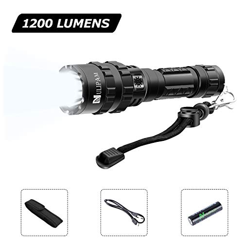 Tactical LED Flashlight, USB Rechargeable 1200 Lumens Super Bright, 5 Modes EDC Handheld Torch Light with Holster for Police,Camping, Hiking, Outdoors Emergency