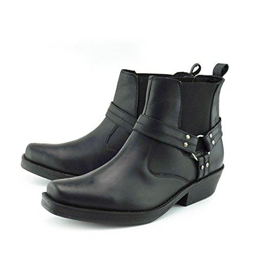 Footwear Pelle da In cowboy Boots Black s Kick Stivali Stivaletti Biker Mens Uomo Cowboy RSUAWnAT