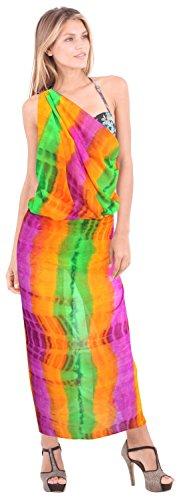 escarpadas de las señoras de la gasa de la mano de tinte lazo de la raya ligeros cubren hasta la falda del vestido pareo Arancio, | Nous: 26W (2X) / Uk: 28