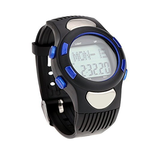 Pedometer - SODIAL (R) 3 ATM Heart Rate Monitor Pulse Watches Waterproof Sport Pulse Monitor Fitness Exercise Watch Stopwatch Pedometer calorie Outdoor Cycling Blue by SODIAL(R)