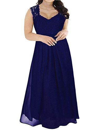 Nemidor Women's Deep- V Neck Sleeveless Vintage Plus Size Bridesmaid Formal Maxi Dress (22, Blue) (Venus Womens Corset)
