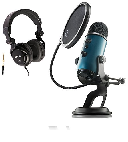 Blue Microphones Yeti Teal USB Microphone with Studio Headphones and Knox Pop Filter by Blue Microphones