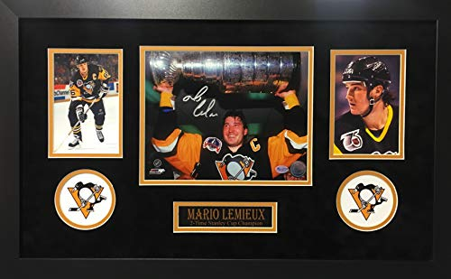 (Mario Lemieux Pittsburgh Penguins Signed Autograph Custom Framed Photo Suede Matting 18x26 Photograph Reich PM Lemieux Hologram)