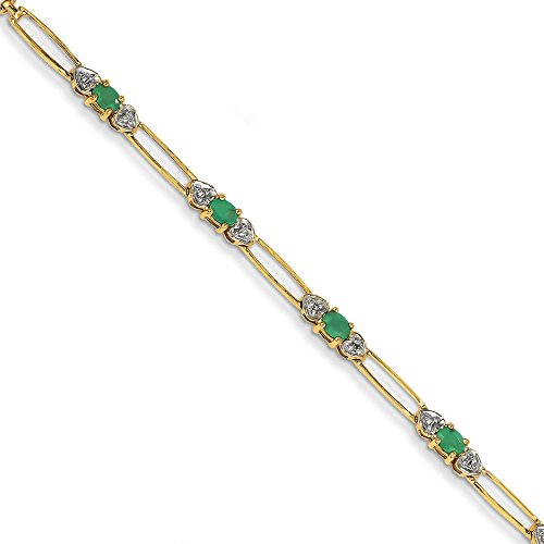 14 carats-Émeraude-Diamant brut et Bracelet-JewelryWeb