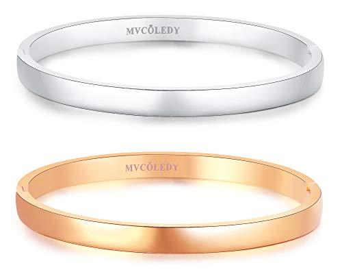MVCOLEDY Jewelry 2 Sets Bangle Rose Gold/White Bangle Bracelet High Polished Bangle Shiny Minimalist Stainless Steel Bangle for Women Size 7