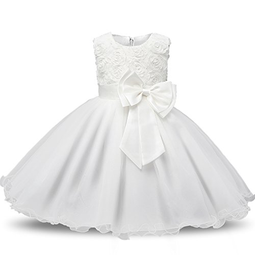 NNJXD Girl Sleeveless Lace 3D Flower Tutu Holiday Princess Dresses Size 4-5 Years White