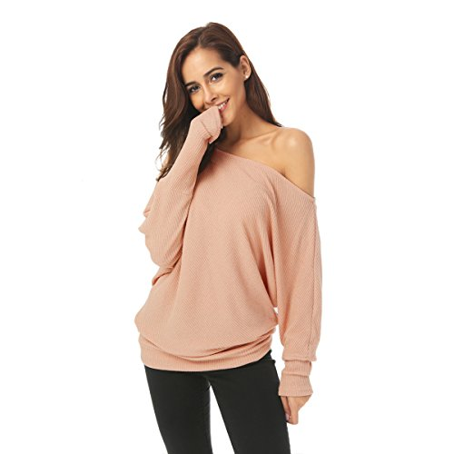 Zumine Women's Off Shoulder Sweater Long Sleeve Loose Knit Pullover Sweater (M, Pink)