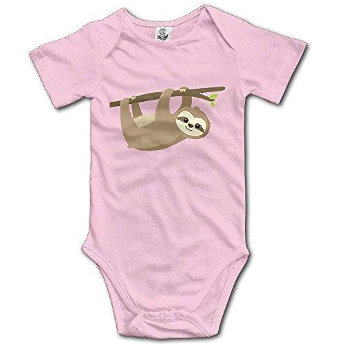 Sloth Lying On Tree Romper Baby Boys Girls Short Sleeve Bodysuit Funny -