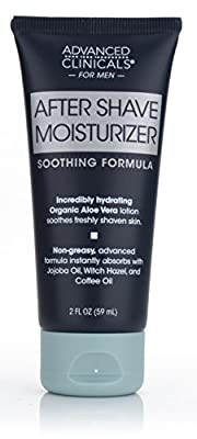 Advanced Clinicals Men's After Shave Moisturizer cream with Aloe Vera, Jojoba Oil, and Witch Hazel. Great post-shave moisturizer for razor burn or bumps. 2oz tube.