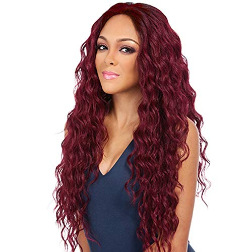 CoolCool Wig Women's Long Big Wavy Hair 30 Inches Chestnut Brown Ultra Soft Heat Resistant Fiber (Wine red)