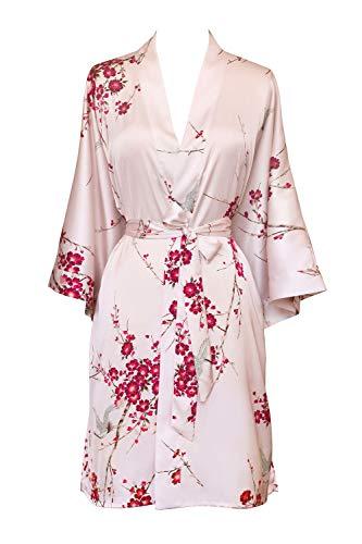 (KIM+ONO Women's Kimono Robe Short - Watercolor Floral, Cherry Blossom & Crane- Rose Quartz,One Size.)