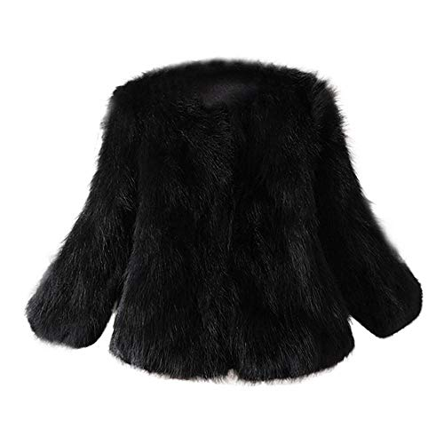 HGWXX7 Women's Winter Soft Fur Coat Faux Fur Cardigans Outerwear Jacket Parkas(Black,S)