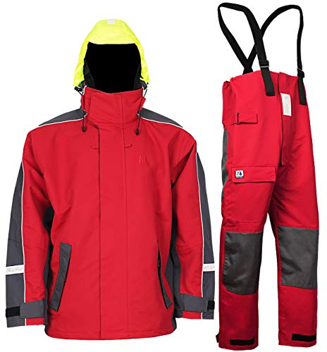 (Navis Marine Men's Sailing Suit For Men Coastals Foul Weather Rainwear Suit,Red (L))