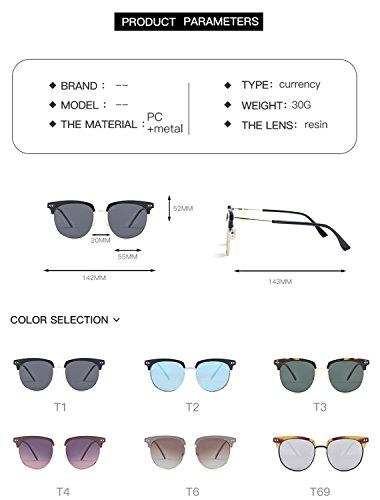 de ATNKE moda de gafas sol PC con mariposa UV400 sin tamaño para nuevo HD protección hombres favorece de reflectante polarizada semi gafas T6 marco las las diseño lente gran montura mujeres O1vqwOr