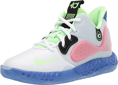 Nike Boys KD Trey 5 VII Basketball Sneakers (6, White/Lime Blast-Hyper RO)