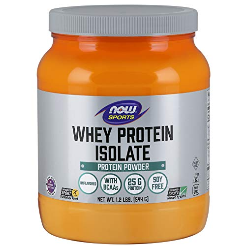 NOW Sports Whey Protein Isolate Unflavored Powder,1.2-Pounds