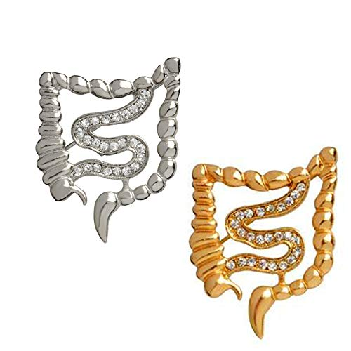 2-Set of Metal Silver and Golden Intestines Anatomy Brooch White Coat Pins Gift for Doctors Gastroenterologist