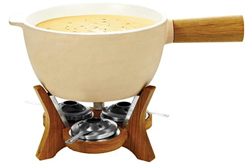 BOSKA Party Fondue Set, 6.5 Liter Stoneware Pot w. Oak Wood Base, 3 Burners, 12 Fondue Forks, Mr Big, Life Collection ()