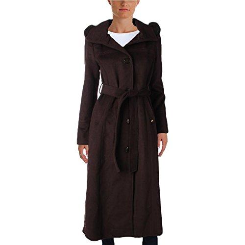 Coat Brown Fur Fox (Ellen Tracy Womens Wool Fox Fur Long Coat Brown 10)