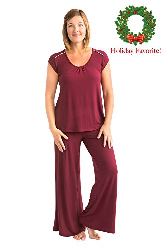 Kindred Bravely The Amelia Ultra Soft Maternity & Nursing Pajamas - Pants Set (Cabernet, Medium)