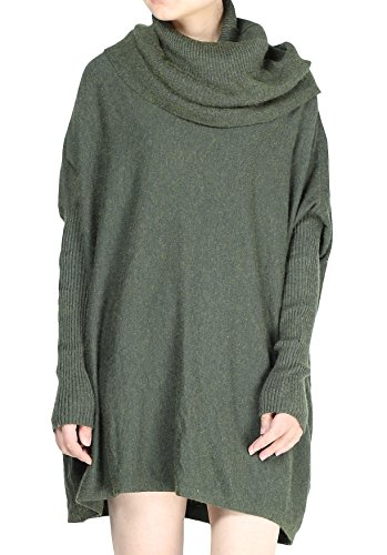 (Mordenmiss Women's Cowl Neck Sweaters Ribbed Pullover Knit Tops (M, Style 1 Green))