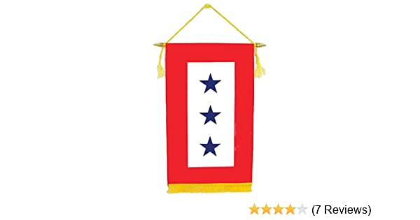 """Official Service Star 1-Star Blue Red Printed Satin Banner 14/"""" X 8.5/"""""""